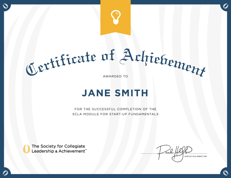 Certificate achievement module design